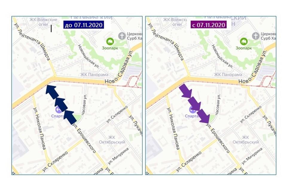 Схема движения на улице Ерошевского изменится с 7 ноября