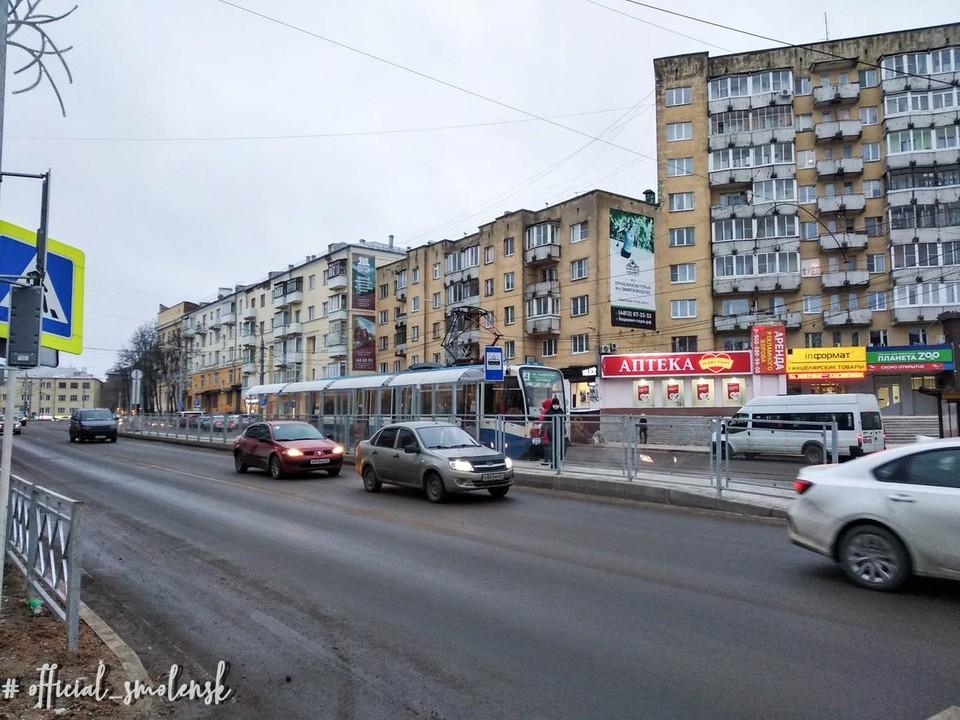 Трамвай начал останавливаться на улице Николаева в Смоленске. Фото: администрация г. Смоленска.