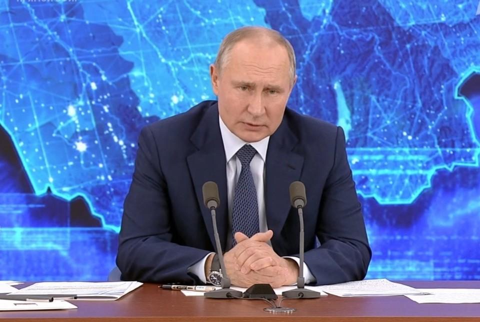 Путин назвал опреснение не самым лучшим методом в борьбе с дефицитом воды. Фото: кадр пресс-конференции с президентом РФ.