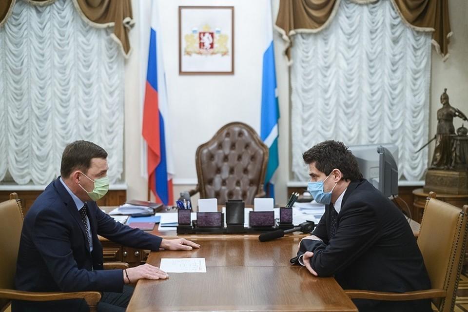 Встреча Евгения Куйвашева и Александра Высокинского. Фото: Департамент информационной политики Свердловской области