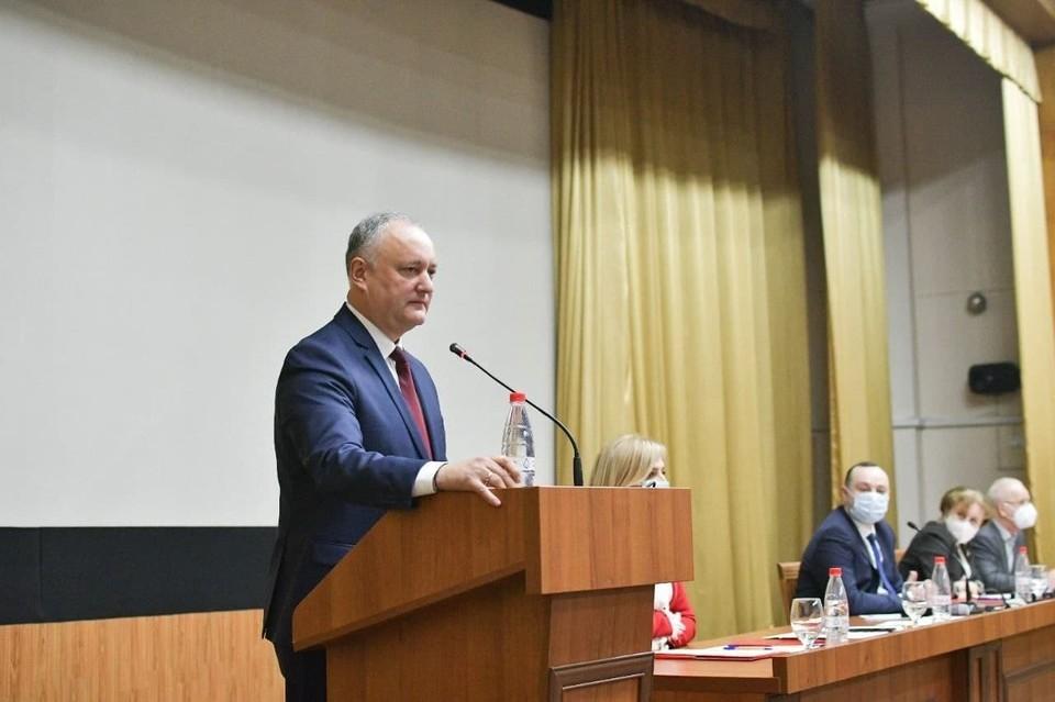 Игорь Додон гордится, что является частью большой семьи социалистов. Фото: socialistii.md