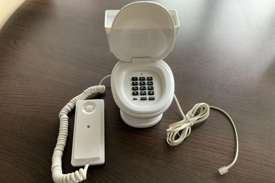 Стационарный телефон, выполненный в виде унитаза
