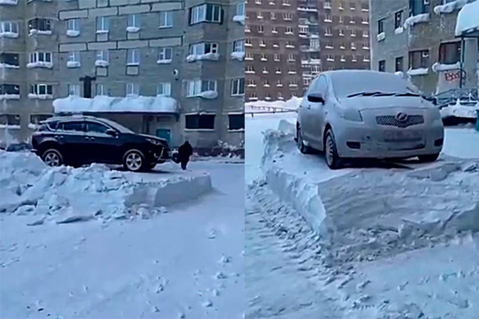 В Норильске несколько машин оказались на пьедестале. Фото: стоп-кадр видео