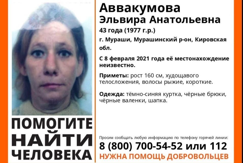 Женщина пропала 8 февраля, и больше ее никто не видел. Фото: vk.com/lizaalert_kirov