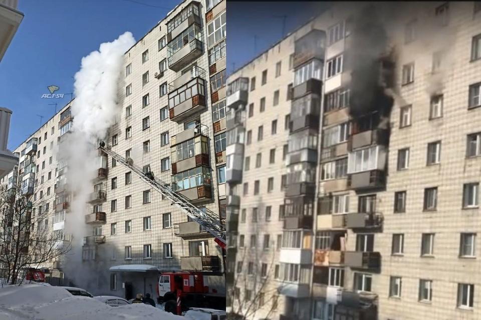 """В Новосибирске загорелся балкон в жилом доме. Фото: """"АСТ-54""""\Кадр из видео\""""ЧП-Новосибирск"""""""