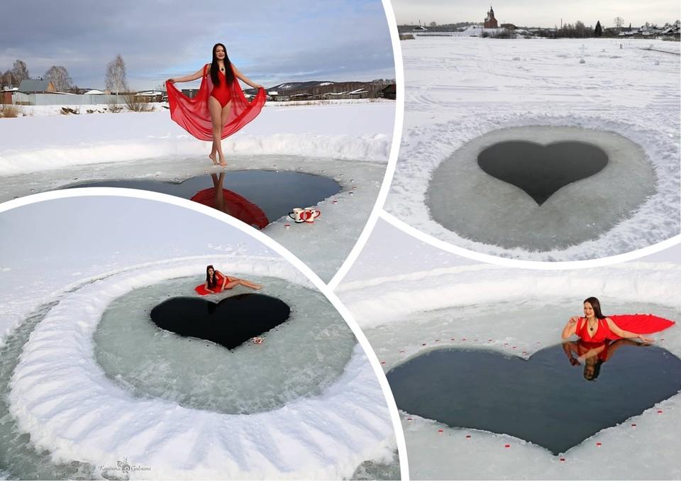 В такой проруби влюбленным будет жарко. Фото: Гульнара Крайнова, Владимир Яковлев