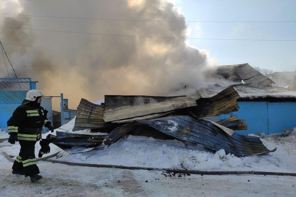 Огонь уничтожил два коттеджа. Фото: пресс-служба МЧС по Новосибирской области
