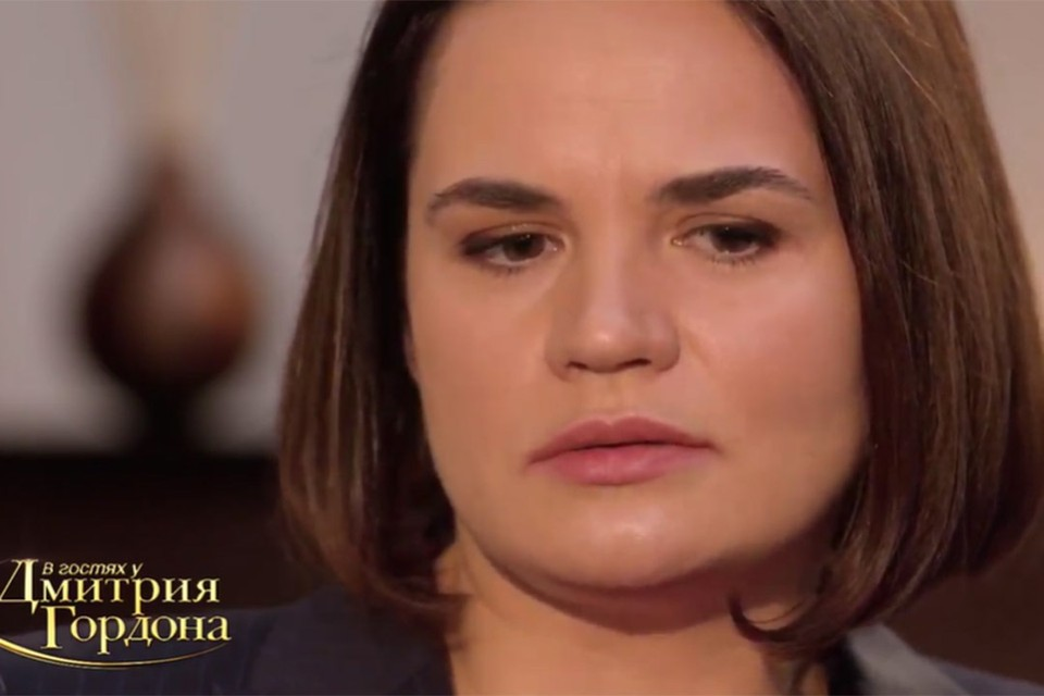 Светлана Тихановская дала интервью Дмитрию Гордону. Фото: скриншот видео
