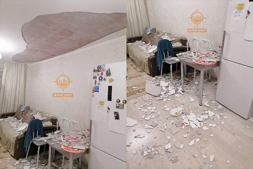 В Красноярской новостройке на семью с детьми обрушился потолок. Фото: «Наш мкр. Солнечный. Красноярск»