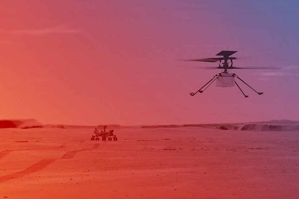 Первые испытания вертолета Ingenuity, доставленного на Марс на борту марсохода Perseverance, состоятся не раньше 11 апреля. Фото: сайт НАСА, NASA/JPL-Caltech