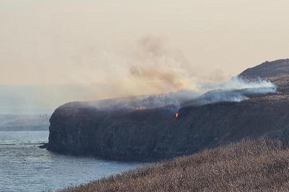На мысе Вятлина острова Русский произошел пал сухой растительности. Фото: instagram.com/irecommend_vdk