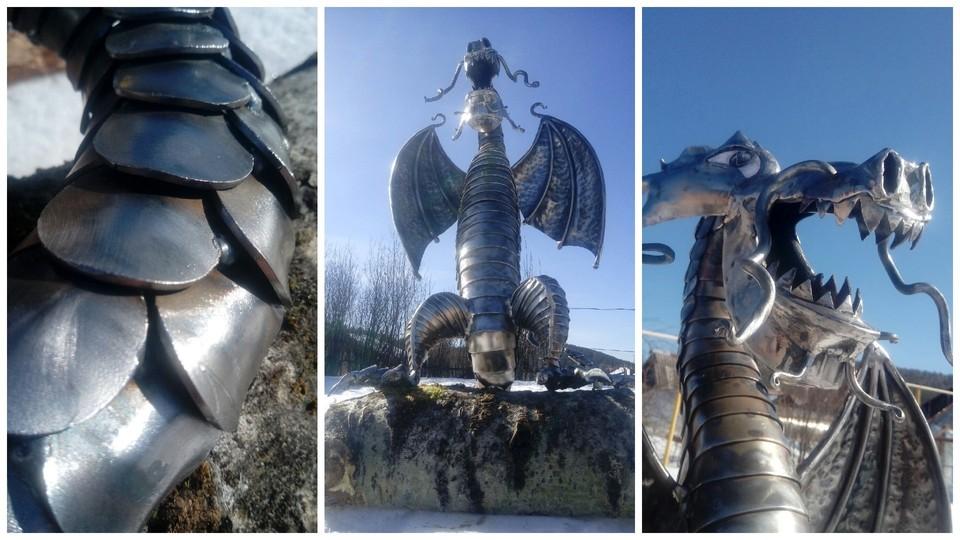 Работа над драконом еще не завершена окончательно. По словам автора, нужно сделать реалистичными глаза и совершить покраску. Фото: Денис Ростовцев