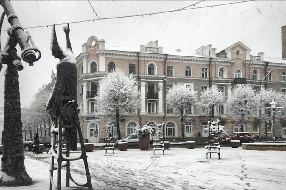 Утром 7 апреля в Могилеве проснулись... зимой. Фото: Instagram @vasily_7000