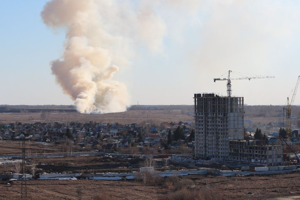В Новосибирске загорелась трава на полях в районе улицы Бородина. Фото: Евгений Макаров