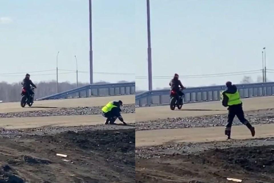 Под Новосибирском развернулась настоящая погоня сотрудников полиции за мотоциклистом. Фото: Кадр из видео