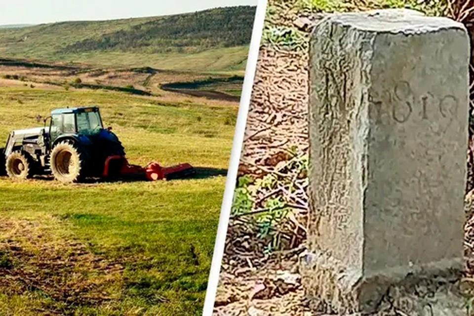 Владелец приграничного земельного участка в Бельгии передвинул каменный пограничный знак, чтобы дать возможность проехать своему трактору. Фото: DAVID LAVAUX