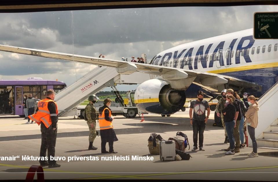 Ryanair: об угрозе на борту сообщили белорусские диспетчеры, они же дали указание сесть в Минске. Фото: delfi.lt.