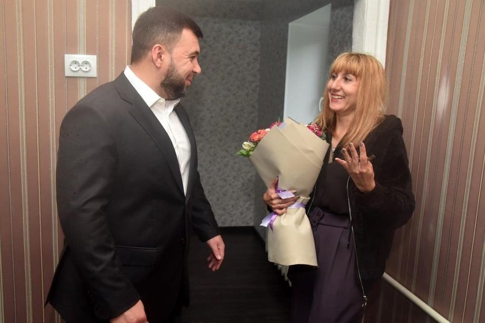 Денис Пушилин и София Носовская. Фото: t.me/pushilindenis