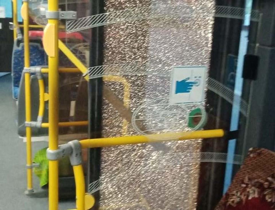 Пострадала стекло на средней двери.