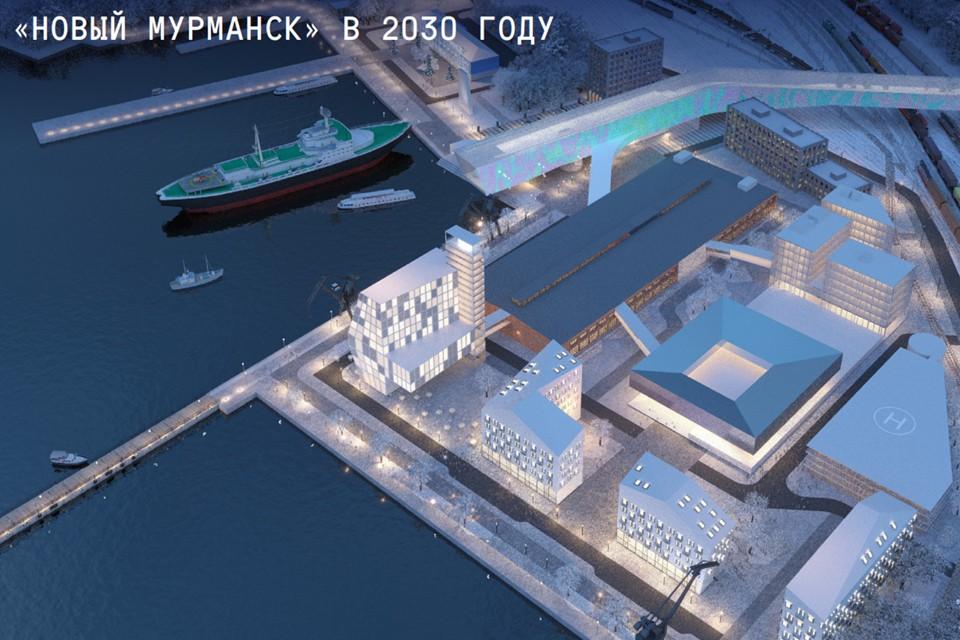 «Новый Мурманск» разместится на территории бывшей судоверфи у морского вокзала на почти 15 тысячах квадратных метров. Фото: ООО «КБ Стрелка»