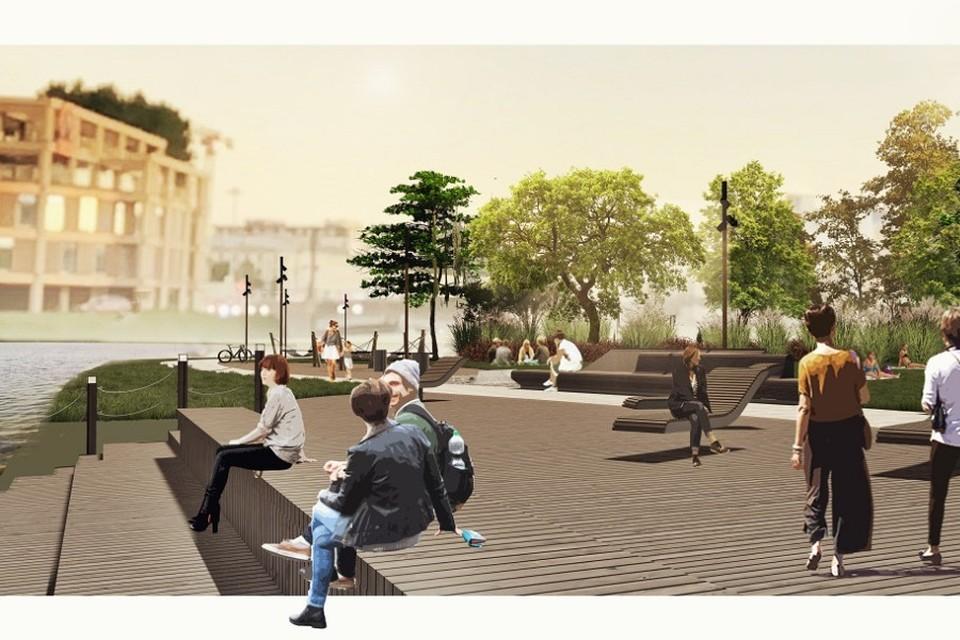 Новое общественное пространство на набережной Карповки начнут создавать в 2022 году. Фото: gov.spb.ru