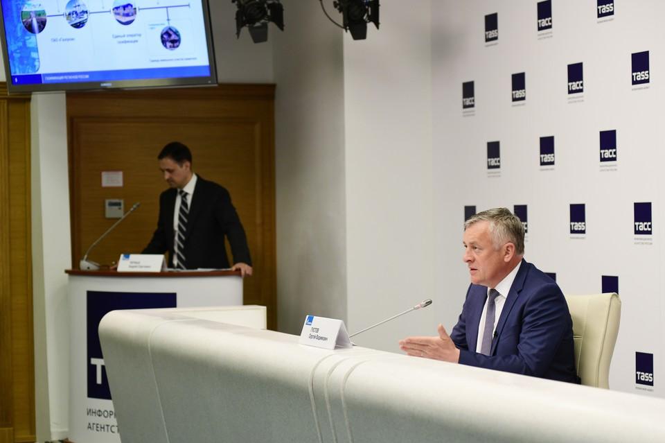 11 июня 2021 года, Санкт-Петербург. Пресс-конференция генерального директора ООО «Газпром межрегионгаз» Сергея Густова.
