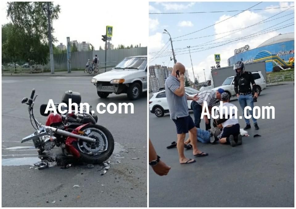 Мужчину, который управлял мотоциклом, понадобилась медпомощь. Фото: Агентство чрезвычайных новостей/vk.com