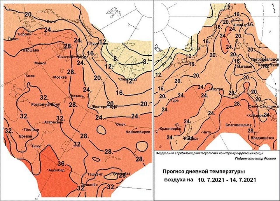 Температурный прогноз до 14 июля от Гидрометцентра России.