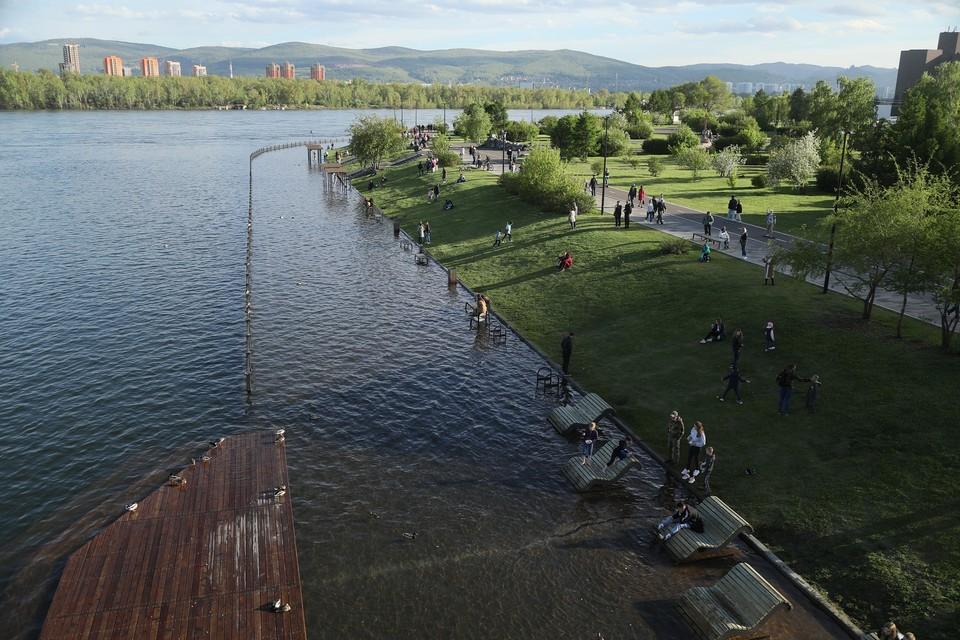 Уровень воды в красноярском Енисее увеличился почти на 20 сантиметров за сутки