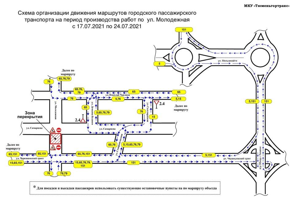 В Тюмени маршруты № 5,15,65,76,79 и 151 пустят в объезд перекрытой дороги.