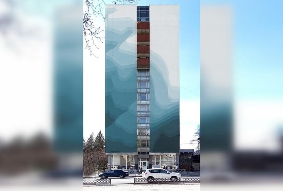 В высоту работа будет 36 метров и 14 в ширину. Фото: пресс-служба Уральского института управления