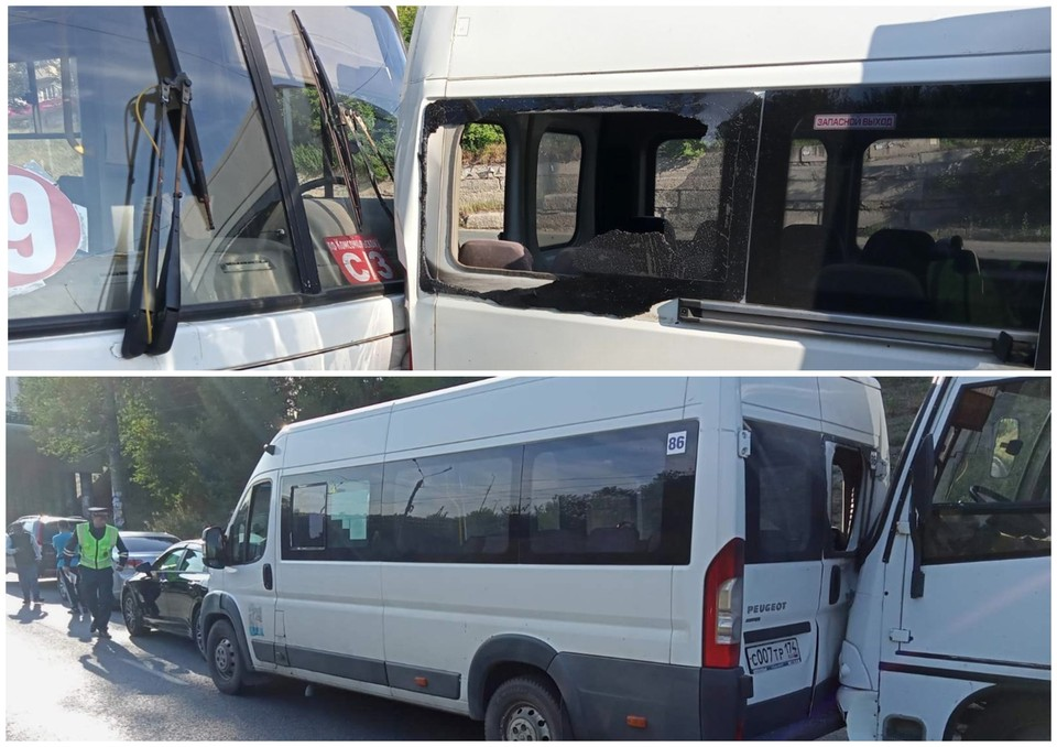 Пассажиры мапшруток не пострадали. Фото: ГИБДД Челябиснка
