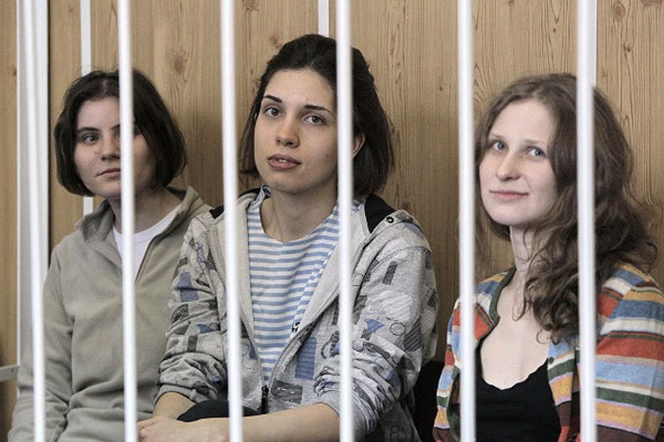 Участницы группы Pussy Riot - Надежда Толоконникова, Мария Алехина и Екатерина Самуцевич