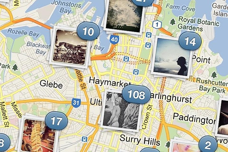 Отображение фотографий на карте