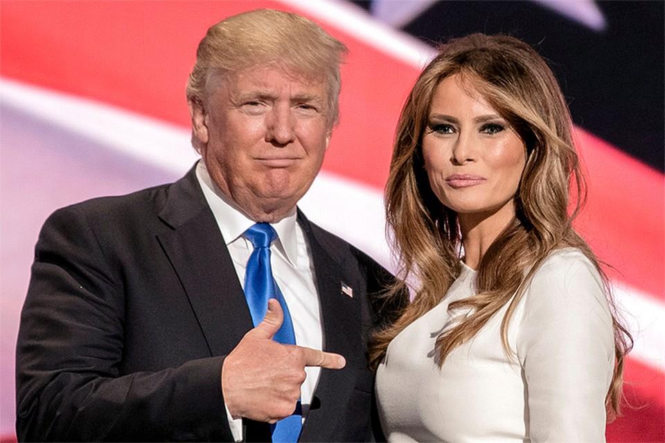Дональд и Мелания Трамп на предвыборном мероприятии.