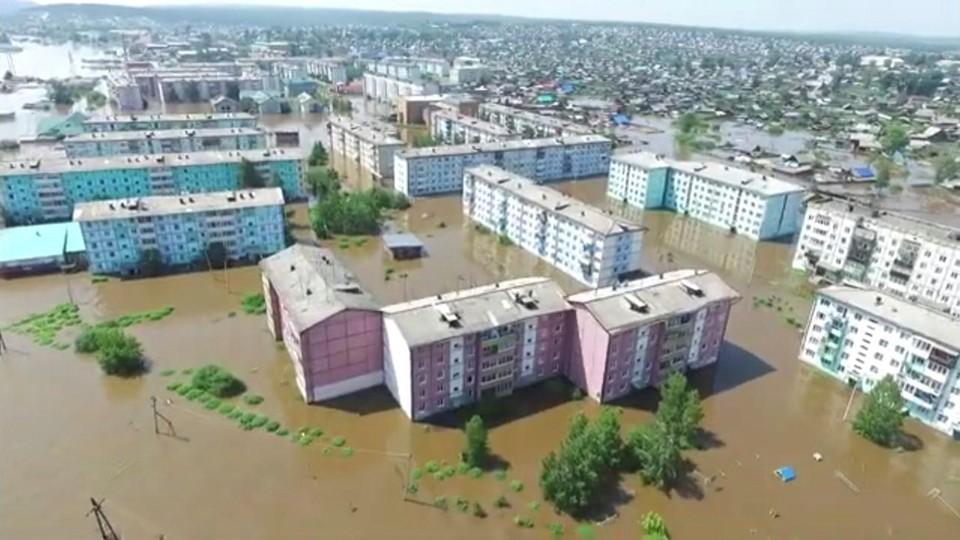 Последствия наводнения в городе Тулун Иркутской области.