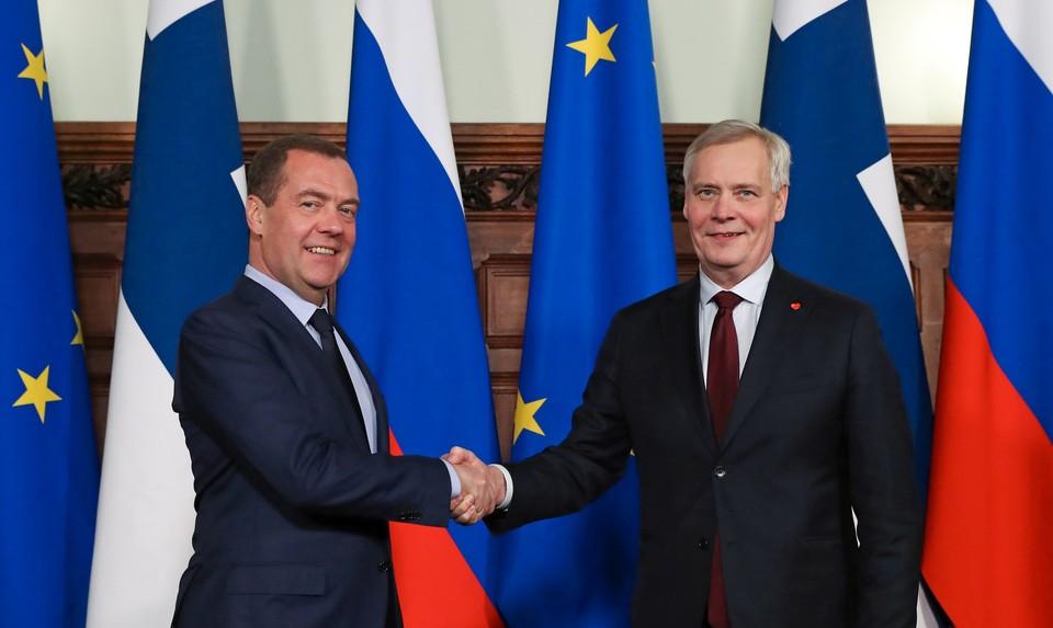 Премьер-министр России Дмитрий Медведев встретился в Москве с финским коллегой Антти Ринне.