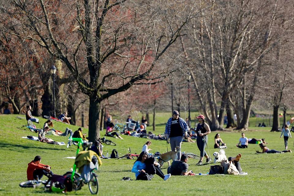 Нью-йоркцы греются на весеннем солнышке в городском парке в Бруклине, несмотря на карантин по коронавирусу.
