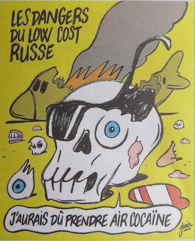 Живой череп на фоне горящего самолета изрекает: «Надо было мне лететь Air Cocaine». Фото: журнал Шарли Эбдо