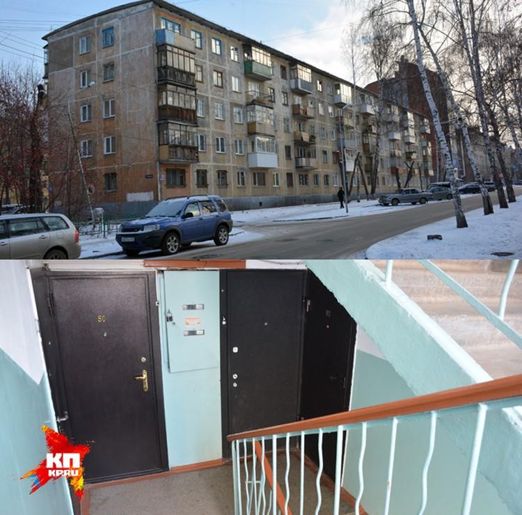Дом и место преступления (внизу). Между этими этажами, по словам соседей, часто собирались компании из пьяниц и наркоманов.