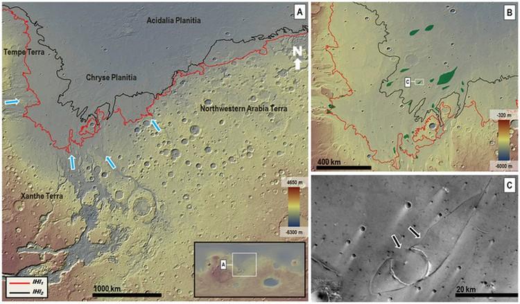 Следы цунами на Марсе.