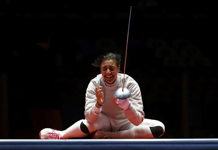 Яна Егорян в первые секунды после победы в финале Олимпиады.