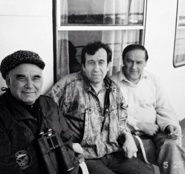 Василий Песков, Владимир Снегирёв и Николай Боднарук в Воронежском заповеднике. Лето 1984 г.