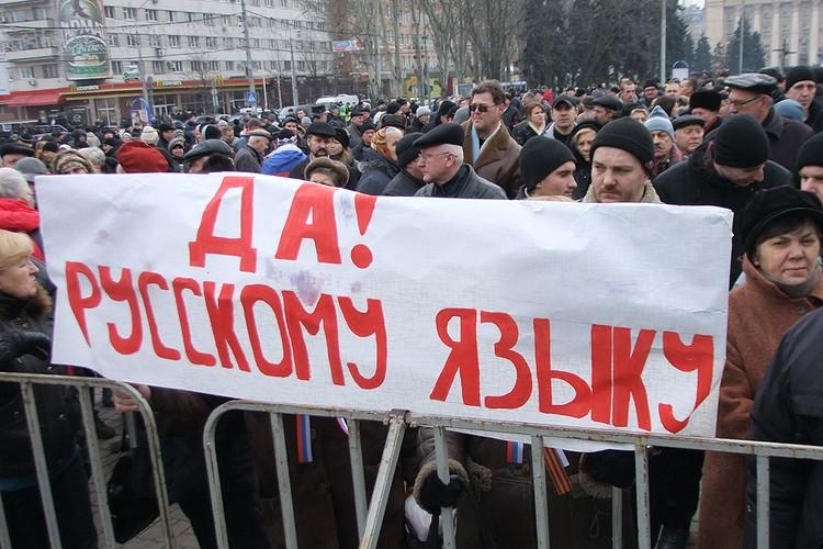 Весна 2014 года, плакат за русский язык на митинге в центре Донецка. Фото ИТАР-ТАСС/ Константин Сазончик