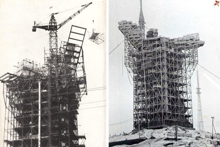Родина-мать в лесах. Этапы строительства. 1964 г. Фото: Музей-заповедник «Сталинградская битва».