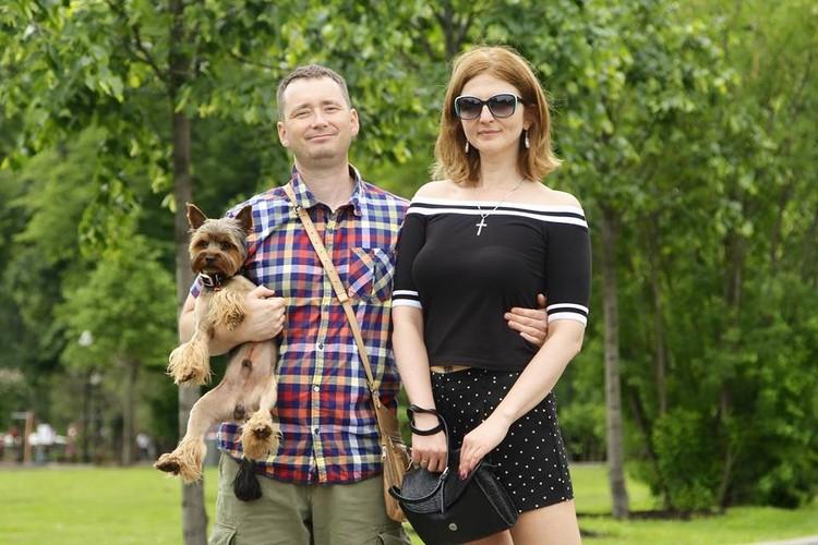 Настя с мужем Иваном и собакой по кличке Шуруп