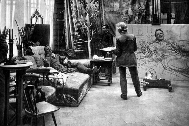 Репин рисует Шаляпина. 1914 год. Фото предоставлено Фондом исторической фотографии имени Карла Буллы.