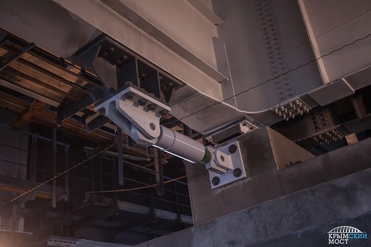 Шок-трансмиттеры воспринимают нагрузки в 850 и 1500 кН (расчетное усилие в 85 и 150 тонн). Фото: инфоцентр «Крымский мост»