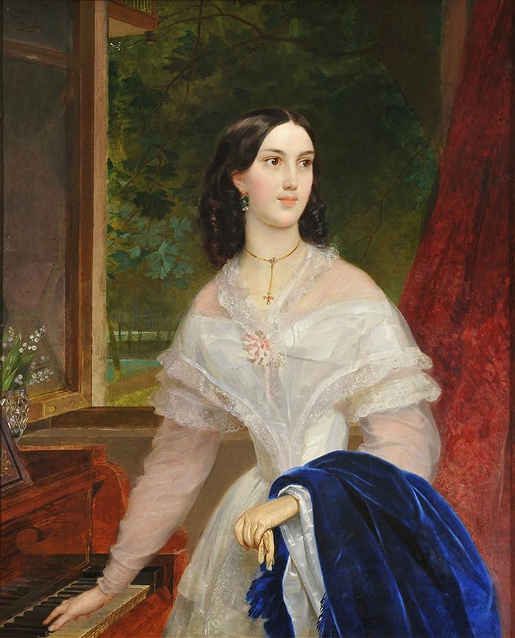 """Карл Брюллов. """"Портрет молодой женщины у фортепиано"""", 1838 год."""