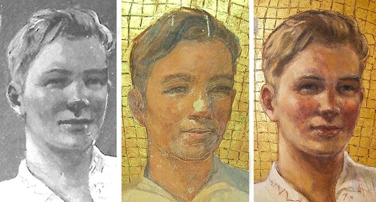 """Сотрудники мастерской уверяют, что вернули фрескам первоначальный вид образца 1953 года, утраченный в ходе некачественной реставрации восьмидесятых. Слева направо - первоначальный вариант, реставрация 80-х и результаты реставрации специалистами """"Китежа""""."""